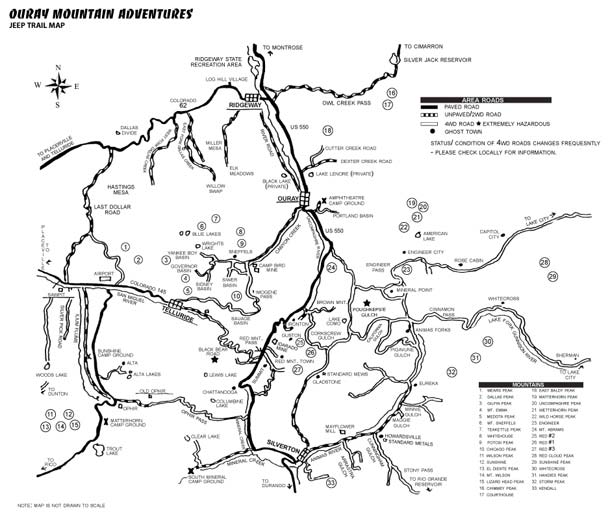 Ouray Trail Map Ouray Co Map